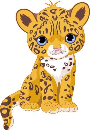 かわいいジャガー (ヒョウ) カブのイラスト