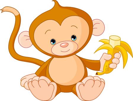 b�b� singe: Illustration de la banane repas de b�b� Monkey  Illustration