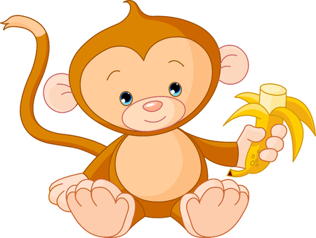 eating banana: Illustration of baby Monkey eating banana