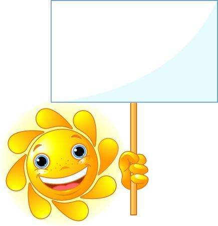 sol caricatura: Sun cute muestra un signo en blanco