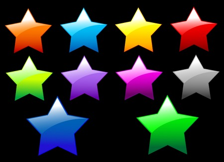 A set of simple shiny Stars buttons on black background Stock Vector - 7303736