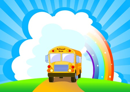 stock clipart icons: Back to school.  Yellow School Bus background Illustration