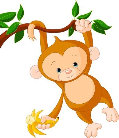 バナナを保持しているツリーにかわいい赤ちゃん猿  イラスト・ベクター素材