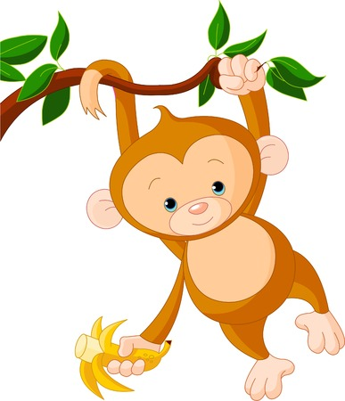 cute cartoon monkey: Cute baby monkey on a tree holding banana