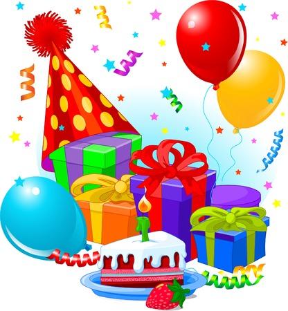 Verjaardags giften en decoratie klaar voor verjaardagsfeest  Stock Illustratie