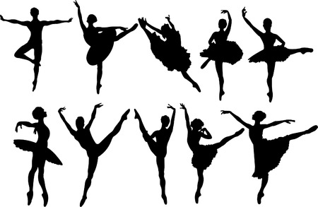 ballet slipper: Set of ballet dancers silhouettes