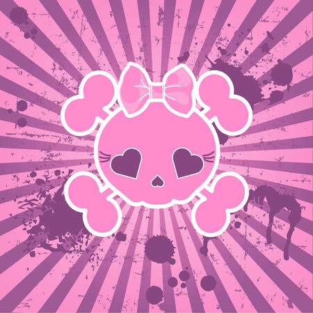 Very cute Skull on grange radial background with place for copytext