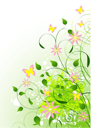 macro leaf: Beautiful Green Summer background. Place for copytext Illustration
