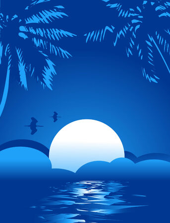 Summer themed tropical sea illustration background with place for text Stock Vector - 7333376