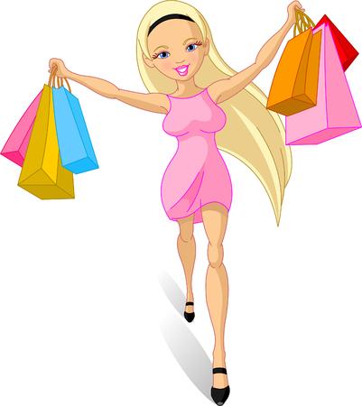 幸せなショッピングの女の子のイラスト  イラスト・ベクター素材