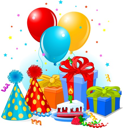 Birthday gifts and decoration ready for birthday party Vector