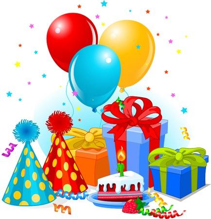happy birthday cake: Regalos de cumplea�os y decoraci�n listo para la fiesta de cumplea�os