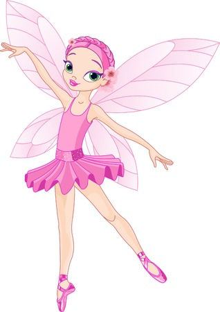 Dancing Pink Cute fairy ballerina  矢量图像