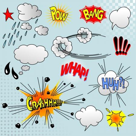 Illustratie van komische elementen voor uw ontwerp Stock Illustratie