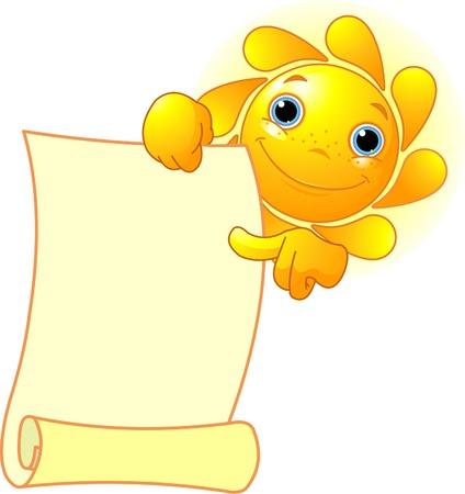 facial expression: Cute summer Sun shows a scroll