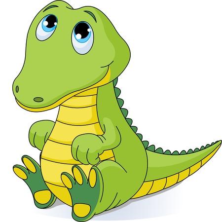 cocodrilo: Ilustraci�n de cocodrilo beb� muy lindo  Vectores
