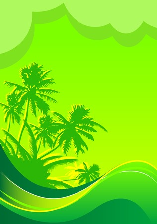 Summer themed beach illustration banner with place for text Stock Vector - 7361994