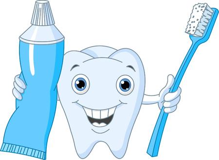 pasta dientes: Car�cter de dientes de dibujos animados sosteniendo el cepillo de dientes y pasta dent�frica