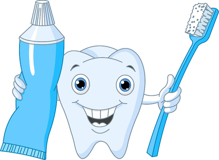 toothy: Cartoon Tooth Character holding toothbrush and toothpaste Illustration