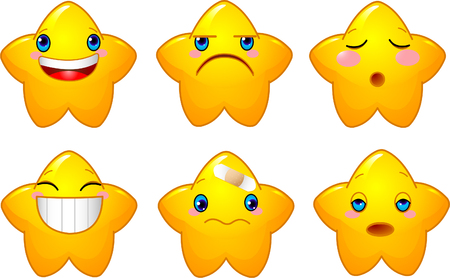 Set of characters of yellow stars with different faces, eyes, mouth and brushes