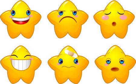 Set van tekens met gele sterren met verschillende gezichten, ogen, mond en borstels  Stock Illustratie