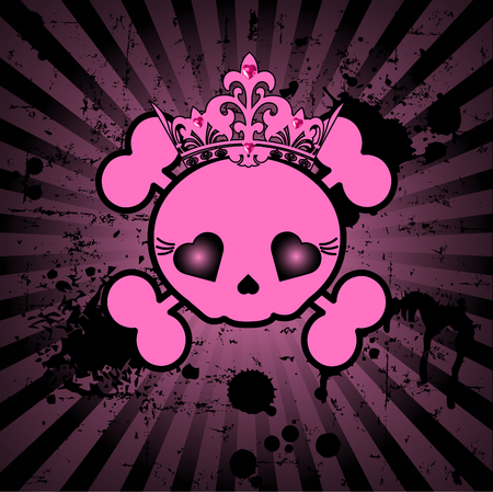 Very cute Skull with crown on grange radial background with place for copytext Çizim