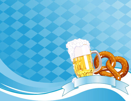 bavarian: Oktoberfest Celebration Background with Copy space. Illustration