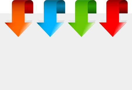 Set of colorful arrows pointing at the item Vector