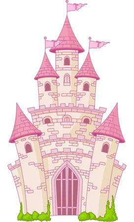 Illustratie van een Magic Fairy Tale Princess Castle Vector Illustratie