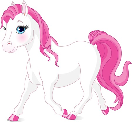 ponies: Illustration of cartoon beautiful white pony Illustration