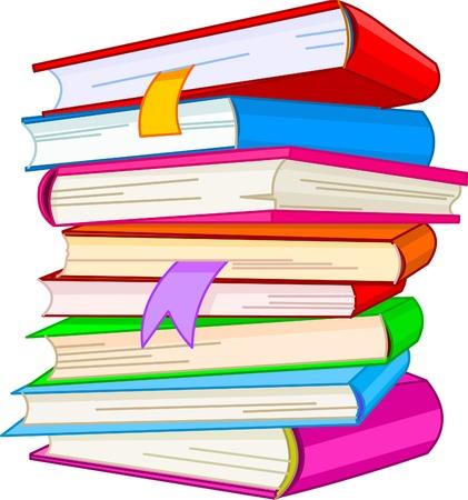 libro caricatura: Ilustraci�n de libro de pila, aislado en fondo blanco