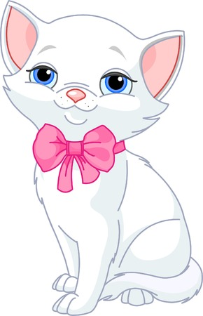 Illustration of Very Cute white Cat with pink bow Stock Vector - 7452663