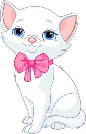 kotek: Ilustracja bardzo Cute biały kot z kokardą różowy