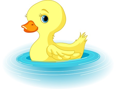 ducklings: Clip-art illustration of the swimming yellow duckling