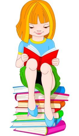 Meisje, zittend op een stapel boeken en lezen
