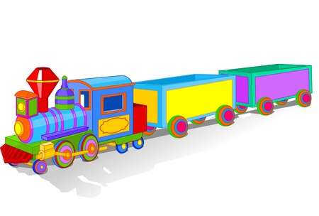 Illustration of Beautiful multi colored toy train Vector