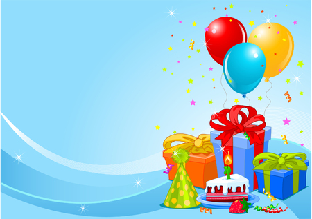 Party balloons and gifts background with gifts and balloons  Vector