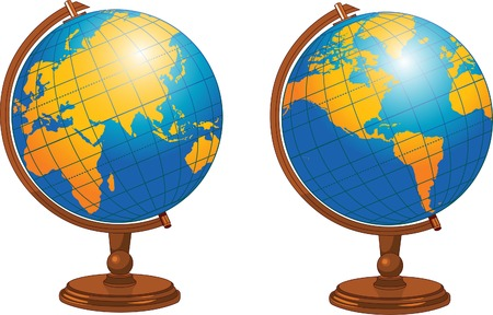 Illustration of world globe in different positions 向量圖像