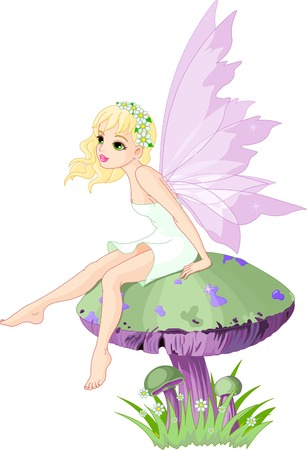 tales: Sweet  fairy elf sitting on mushroom Illustration