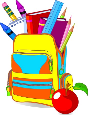 Terug naar school beeld concept inhoud school tas en zo on�  Stock Illustratie