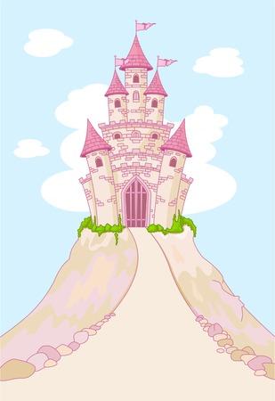 Invitation card with Magic Fairy Tale Princess Castle