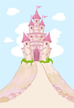fairytale background: Invitation card with Magic Fairy Tale Princess Castle