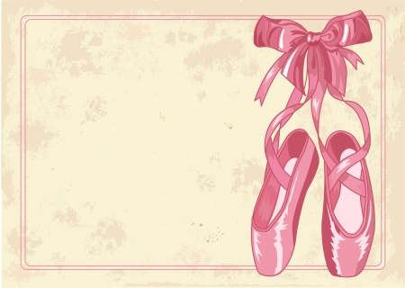 A pair of well-worn ballet pointes shoes on old paper background Illustration