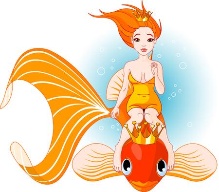 Pretty princess mermaid riding on a golden fish