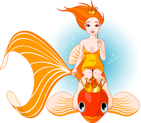 underwater fishes: Pretty princess mermaid riding on a golden fish