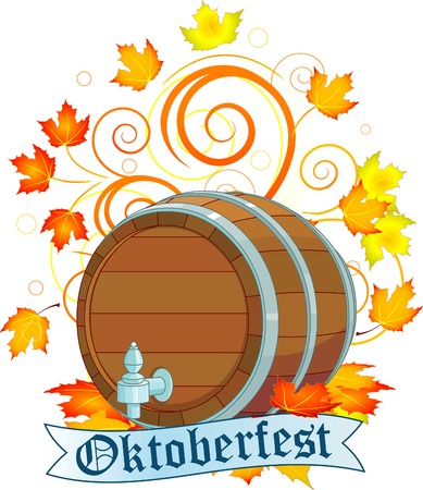 fest: Decorative Oktoberfest design with beer keg