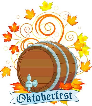 październik: Dekoracyjnego wzoru Oktoberfest z piwa keg