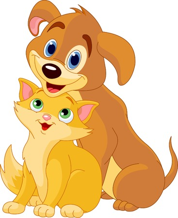 cartoon dog: Cute Dog and Cat Best Friends Ever
