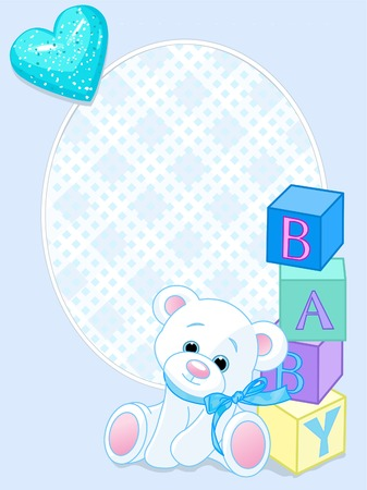 Blue design with Teddy Bear and word