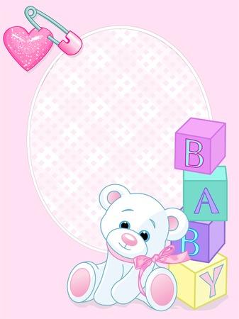 테디 베어와 단어가있는 핑크색 디자인